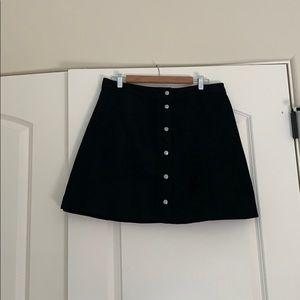 Women's Button Front Faux Suede Mini Skirt